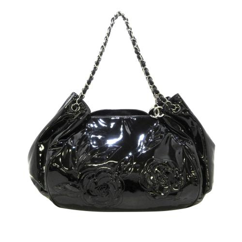 Chanel Camelia Patent Leather Chain Tote Bag