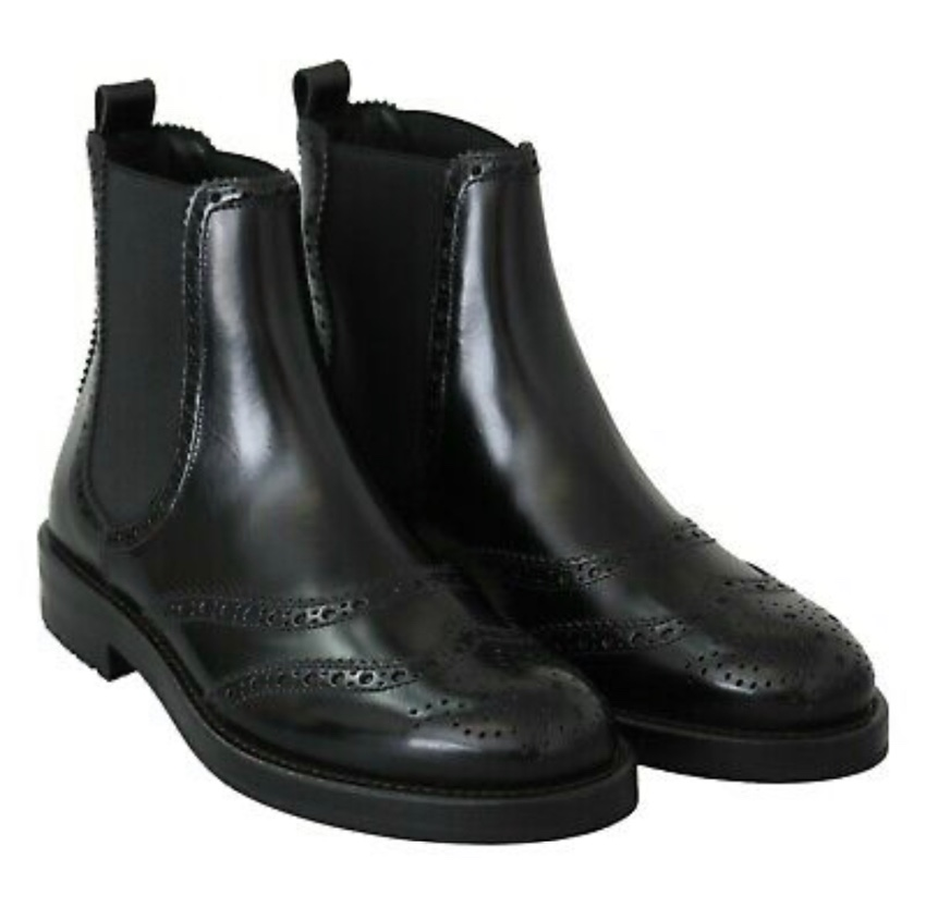 Dolce & Gabbana Black Leather Brogue Ankle Boots