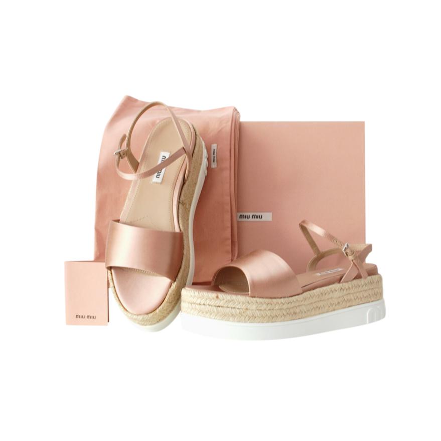 Miu Miu Pink Satin Flatform Espadrille Sandals