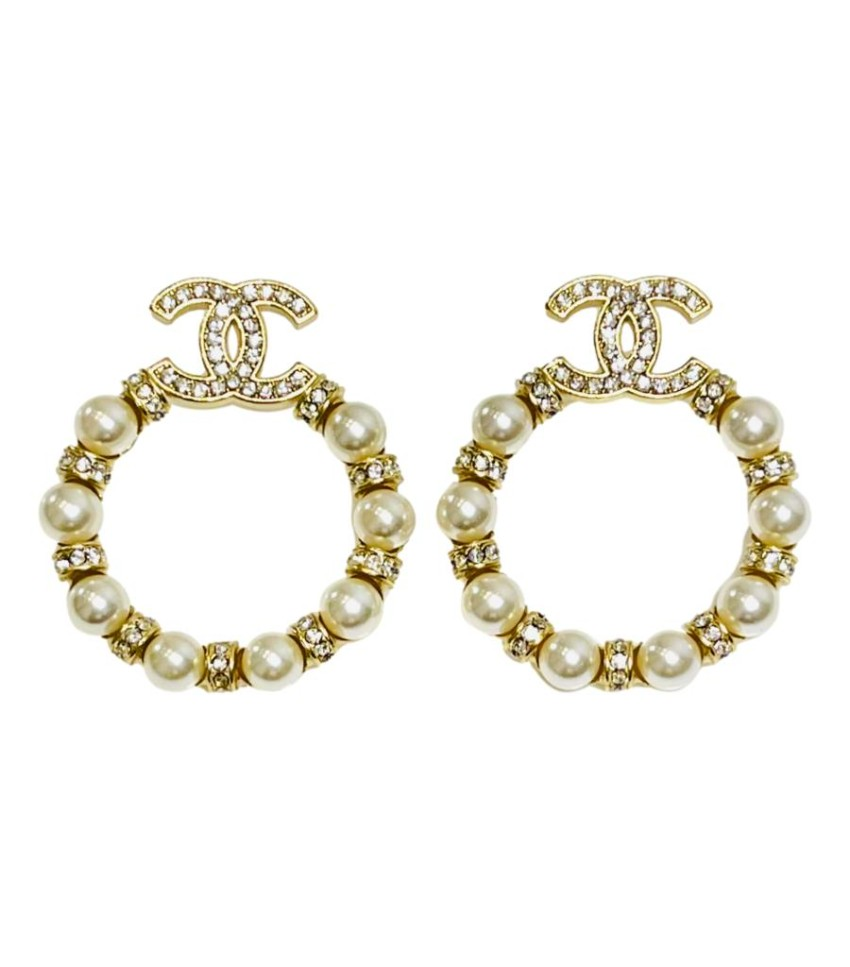 Chanel Cruise '21 Faux Pearl & Crystal CC Hoop Drop Earrings