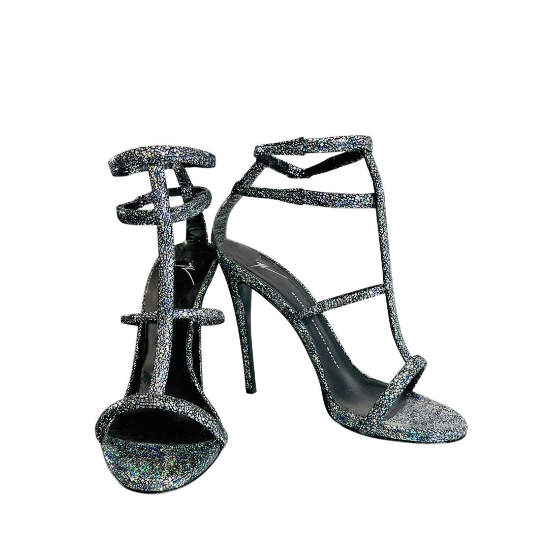 Giuseppe Zanotti Metallic Crackled Strappy Sandals