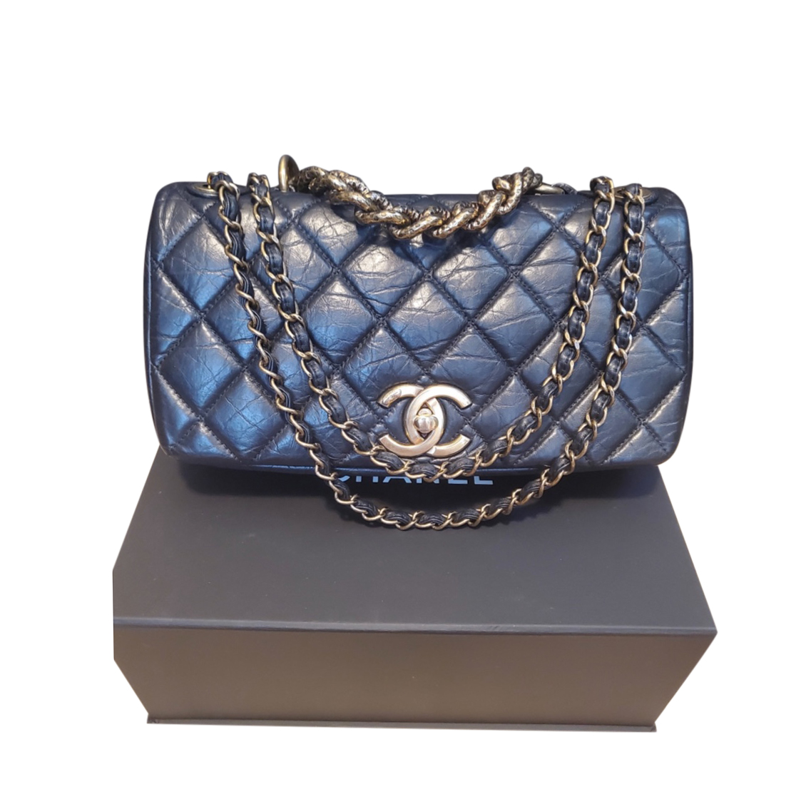 Chanel Black Quilted leather with Chunky Chain
