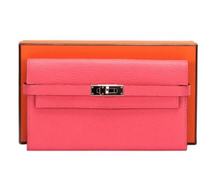 Hermes Pink Chevre Kelly Leather Wallet