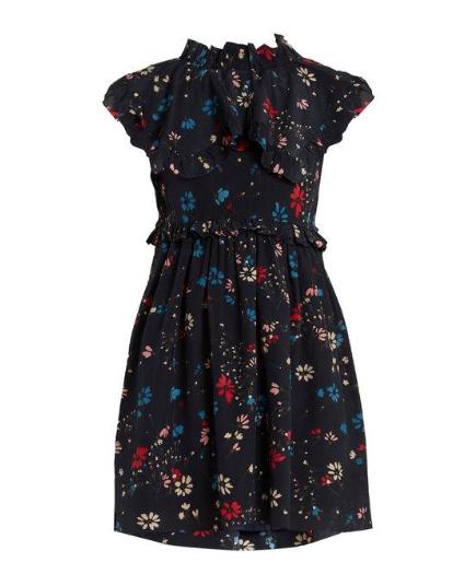 BALENCIAGA Baby Doll Plastron Floral-print Silk Mini Dress