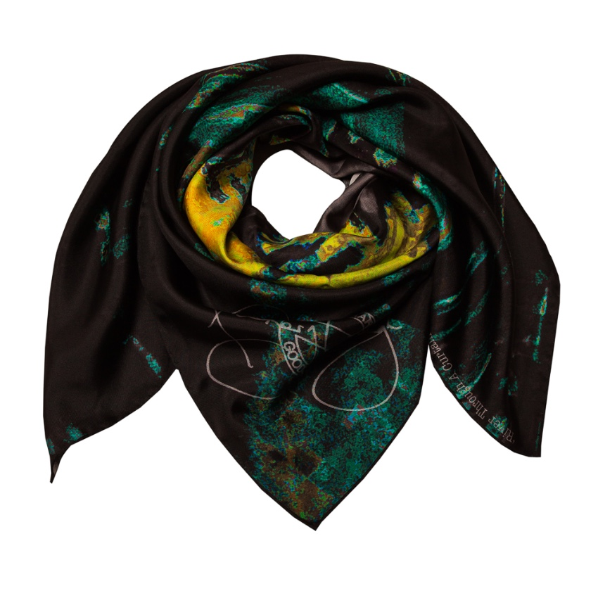 Rosemary Goodenough River Through A Curtain V Green Silk Scarf