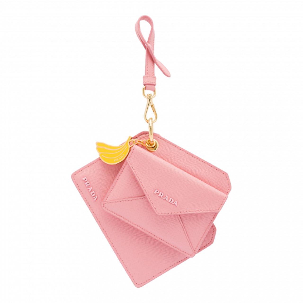 Prada Saffiano Lux Banana Charm Pink Keychain Wallet Card Case