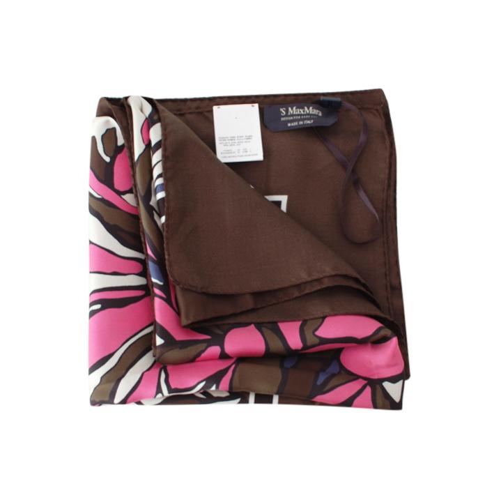 Max Mara Brown & Pink Silk Floral Scarf