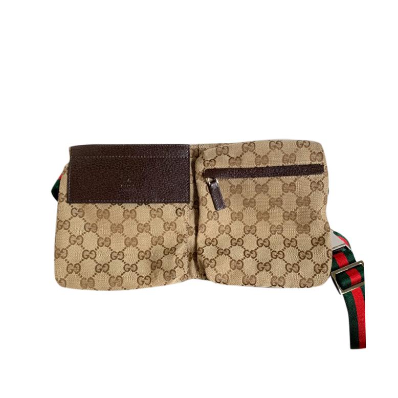 Gucci Vintage Double Pocket Web Belt Bag