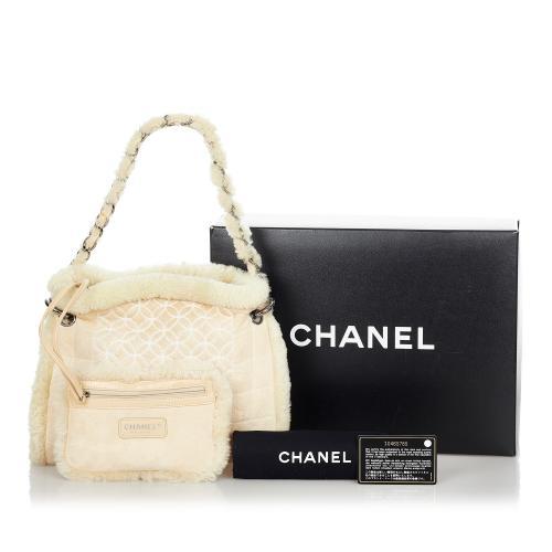 Chanel Mouton Shearling & Suede Shoulder Bag