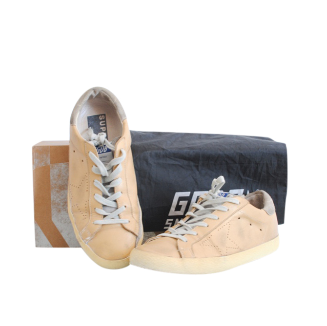 Golden Goose Peach Leather Superstar Sneakers