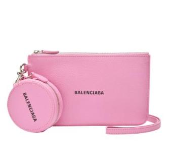 Balenciaga Pink Cash Leather Pouch & Coin Purse