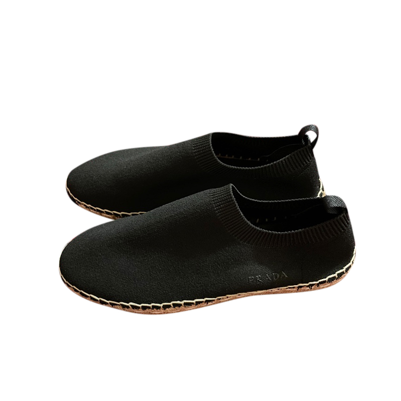 Prada Black Stretch Sock Espadrilles