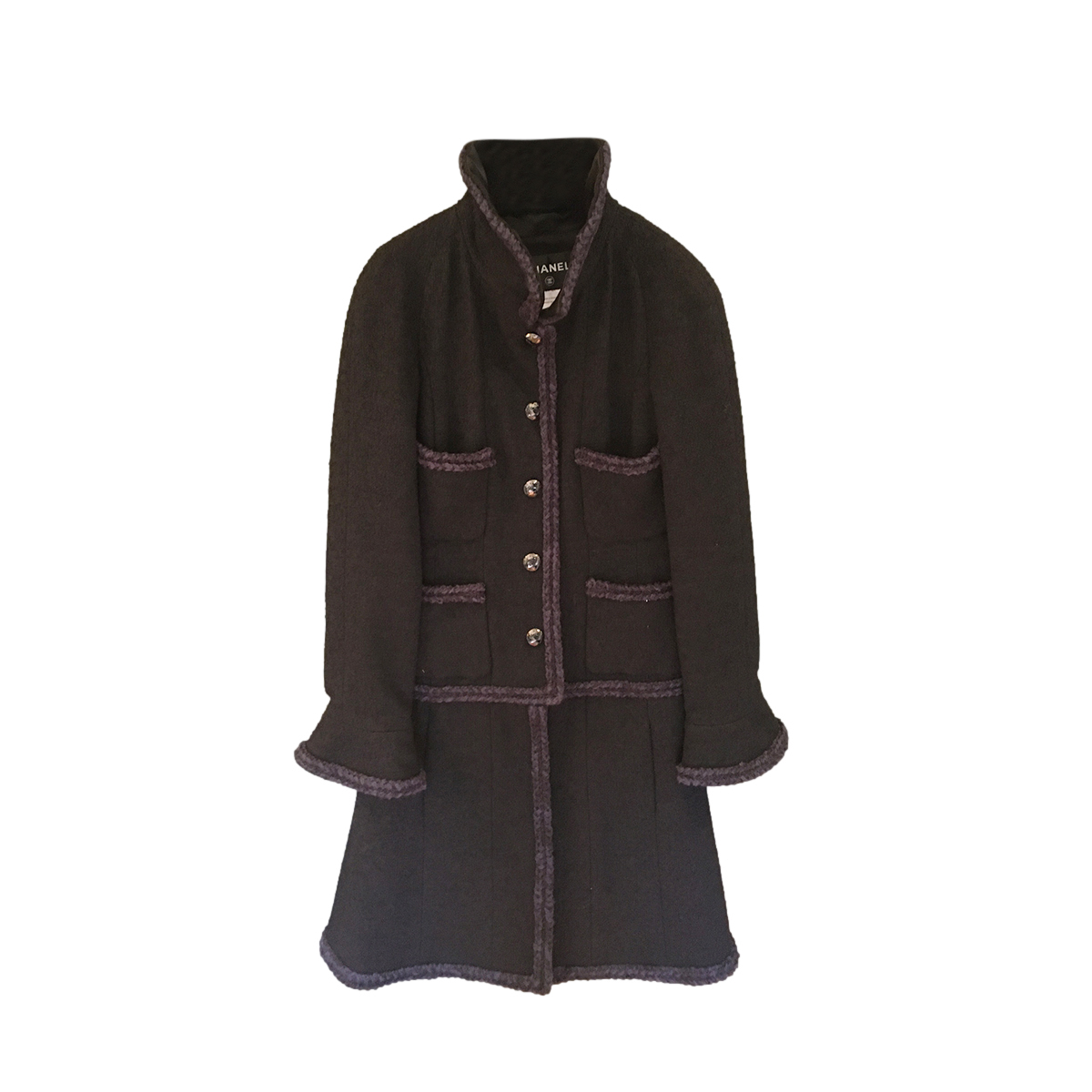 Chanel Black Tweed Trimmed Wool Blend Coat