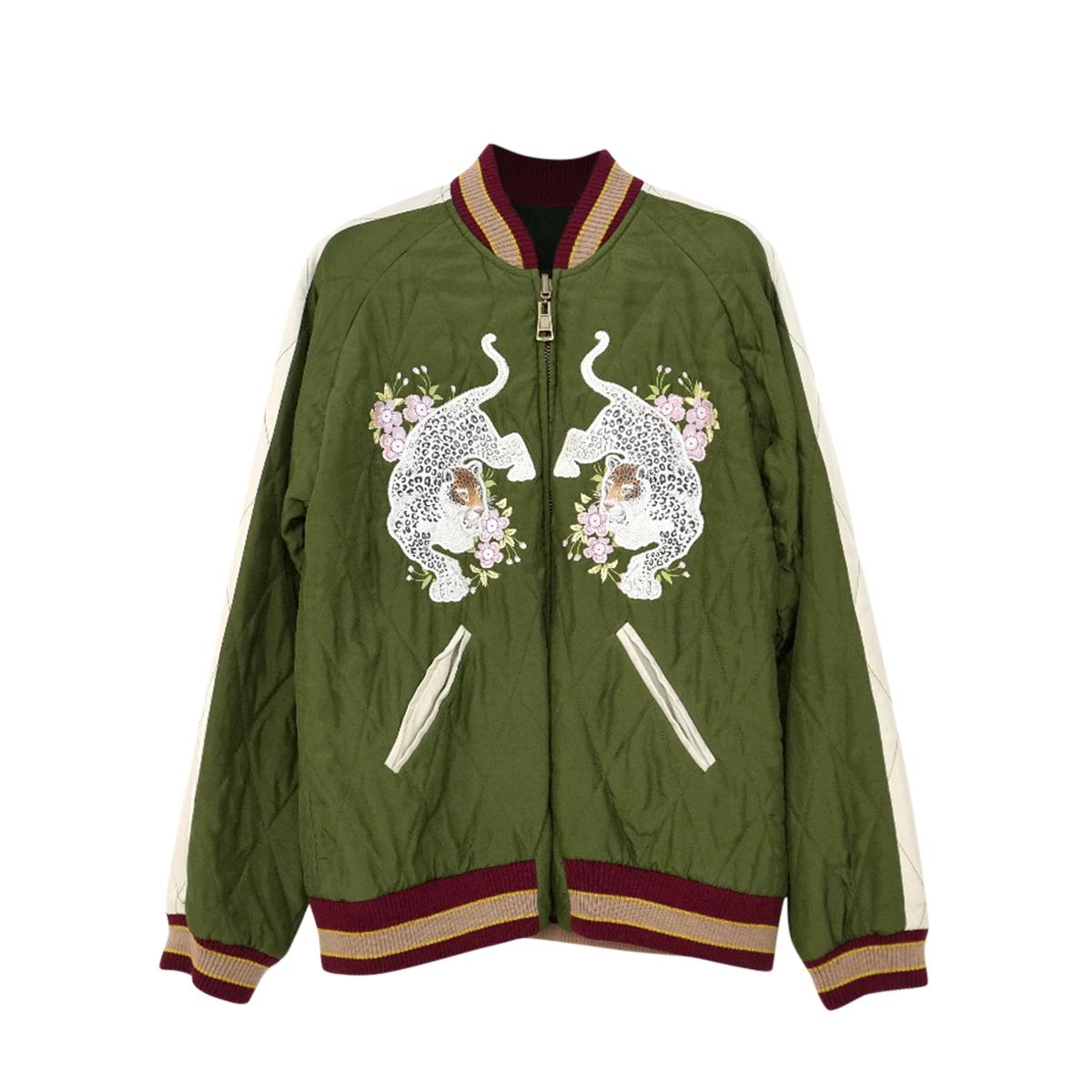 Chloe Embroidered Green Quilted Satin Bomber Jacket
