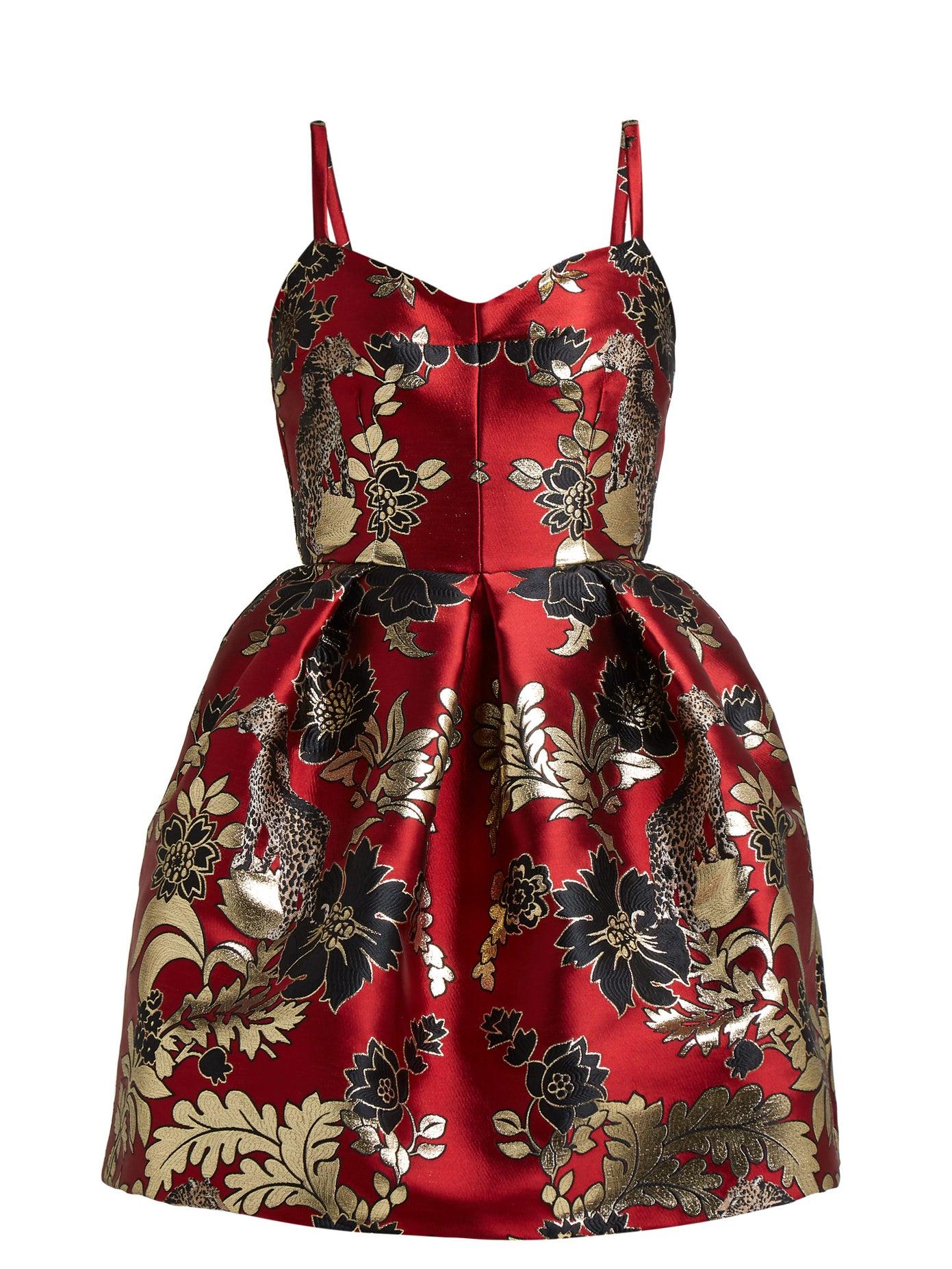 Dolce & Gabbana Red Brocade Mini Dress