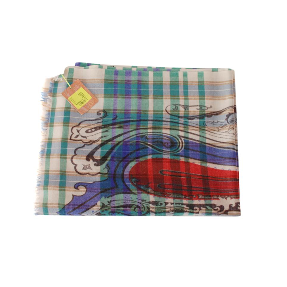 Etro Wool Tartan Printed Scarf