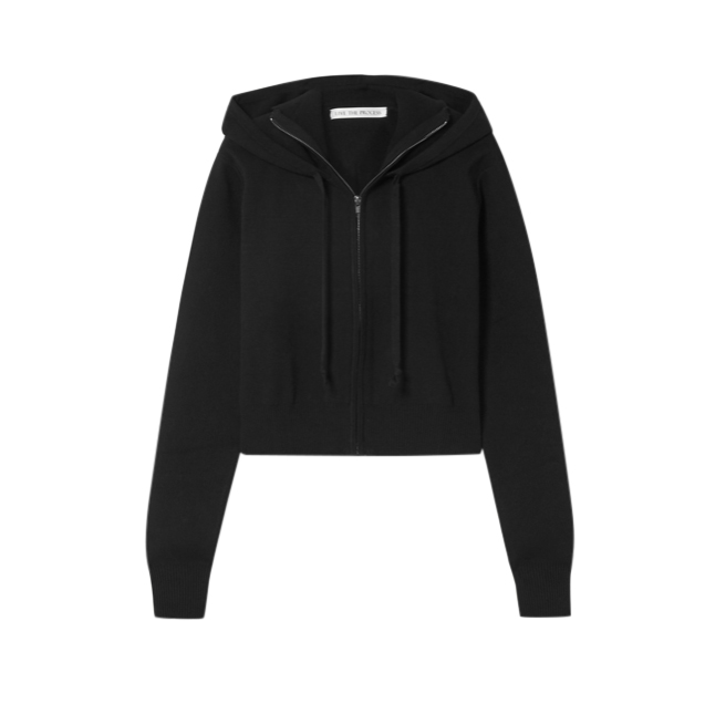 Live The Process Black Cropped ribbed stretch-knit hoodie