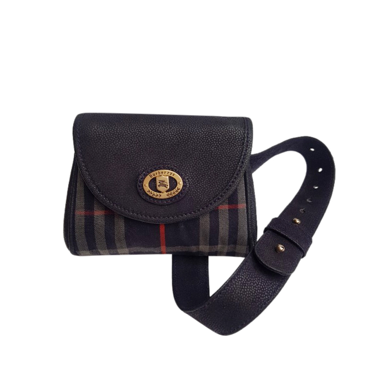 Burberry Vintage Canvas & Leather Belt Bag