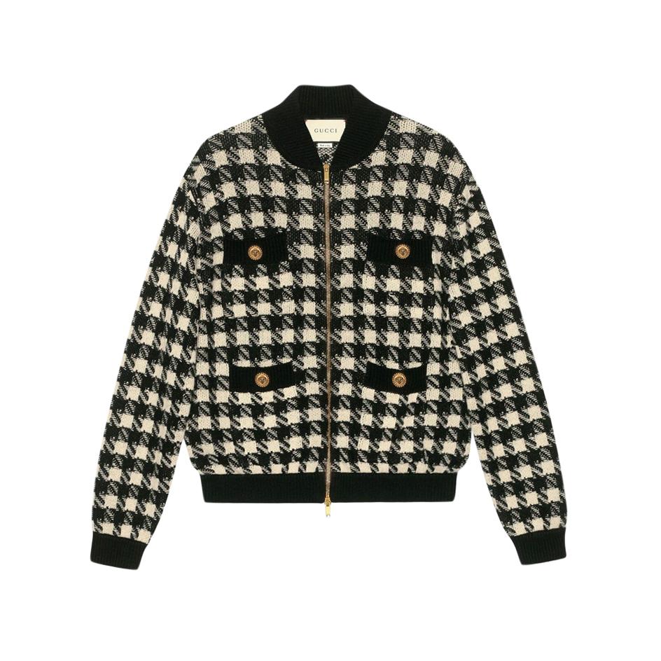 Gucci houndstooth cashmere & silk bomber jacket