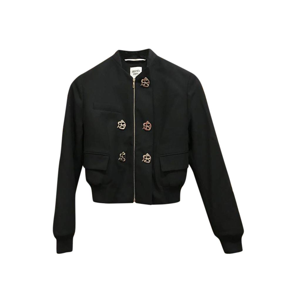 Hermes Black Embellished Wool Bomber Jacket