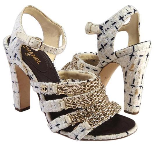 Chanel White & Navy Tweed Chain Trim Sandals