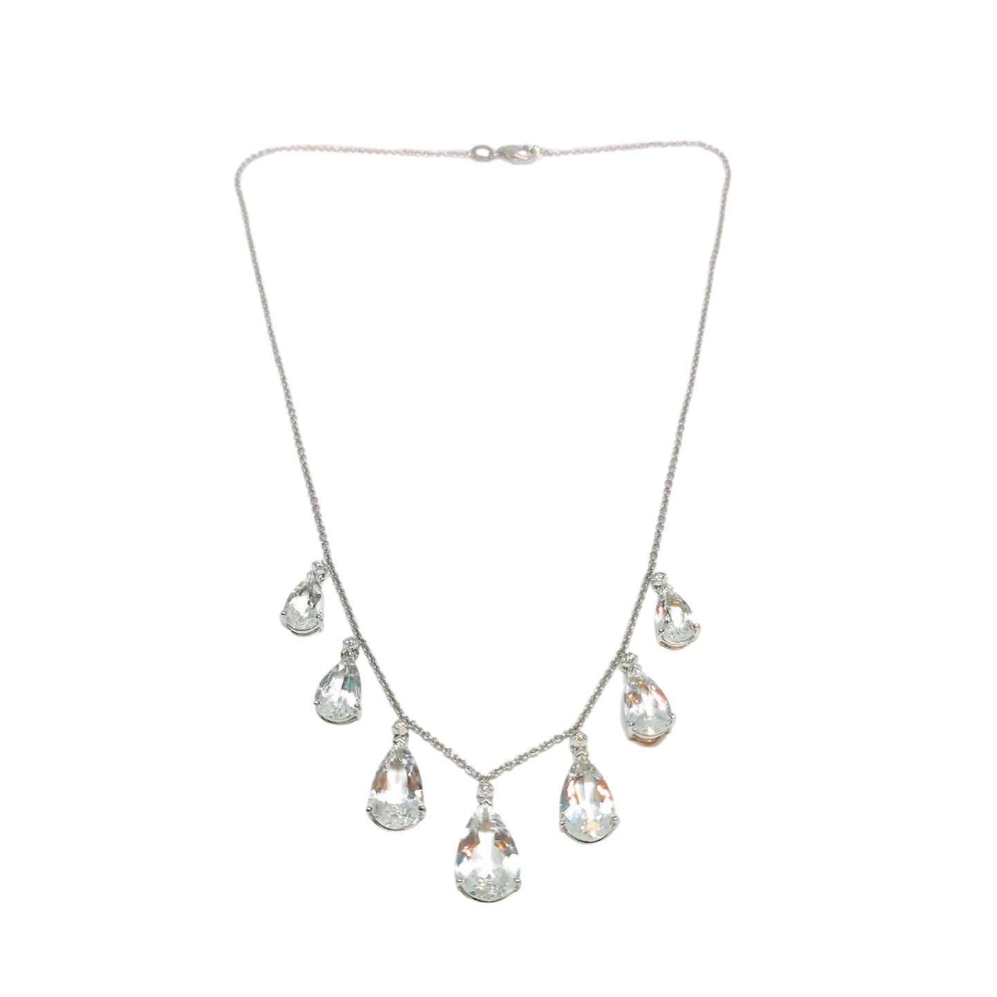 Bespoke 18ct White Gold Diamond & Aquamarine Necklace