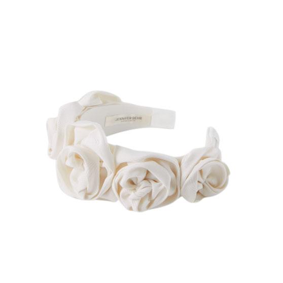 Jennifer Behr Ivory Silk Faille Rosette Hair Band