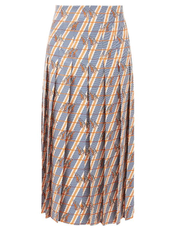 Gucci Giraffe-print Silk-Satin Pleated Midi Skirt