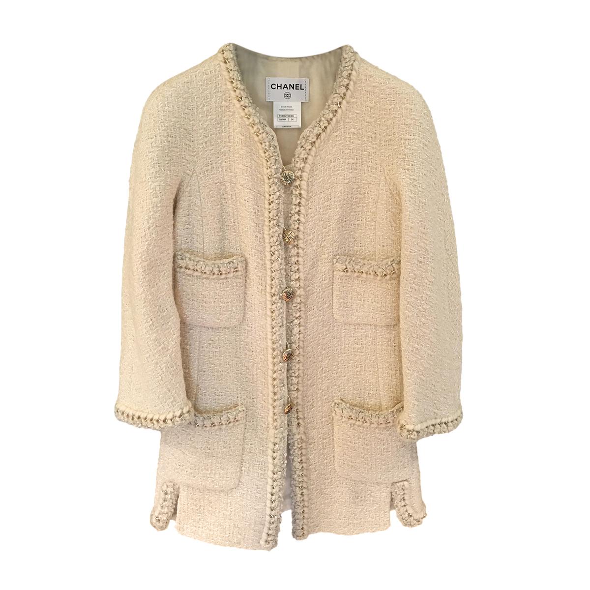 Chanel Cream & Gold Tweed 4-Pocket Coats