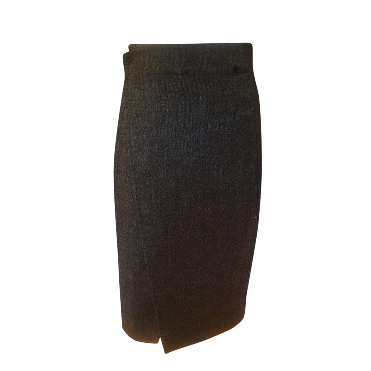 Akris Charcoal Wool Blend Wrap Skirt
