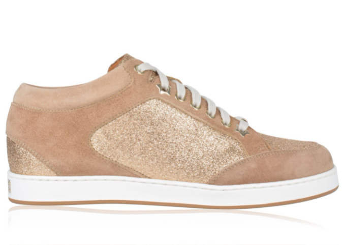 Jimmy Choo Glitter & Suede Nude Miami Sneakers