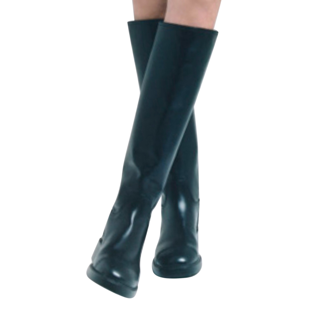 Chanel Black Glossy Leather Heeled Knee Boots