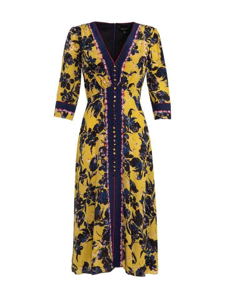 Saloni Citronelle Eve Silk Midi Dress