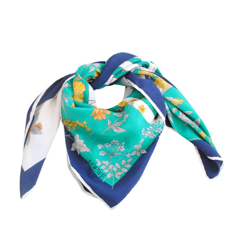 Loewe Turquoise Floral Silk Scarf 90