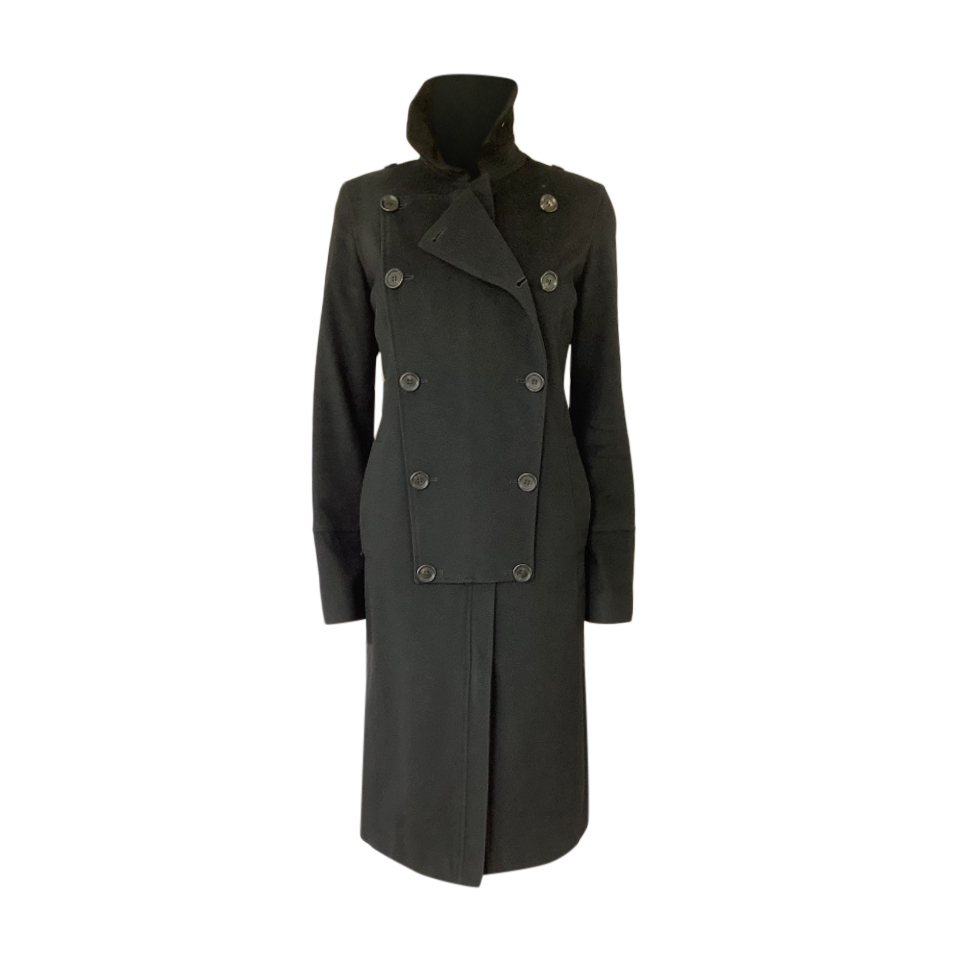 Burberry Black Wool Double Breasted Long Coat