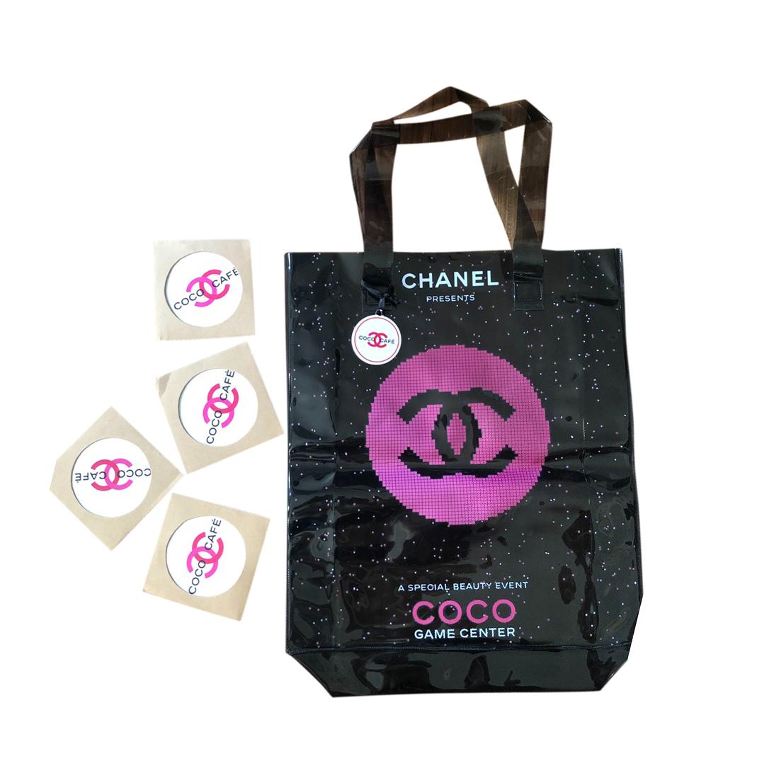 Chanel Coco Cafe VIP Patent Tote Bag & Coasters