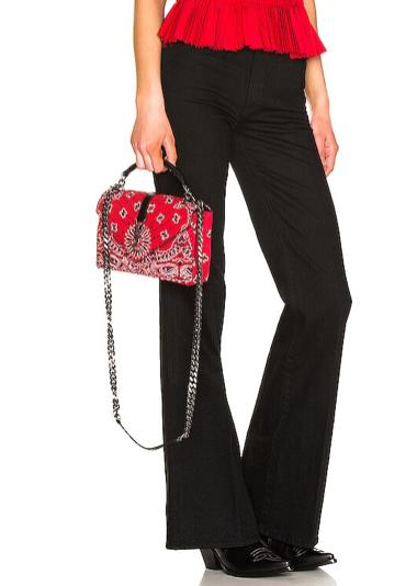 Saint Laurent red cotton college bandana bag