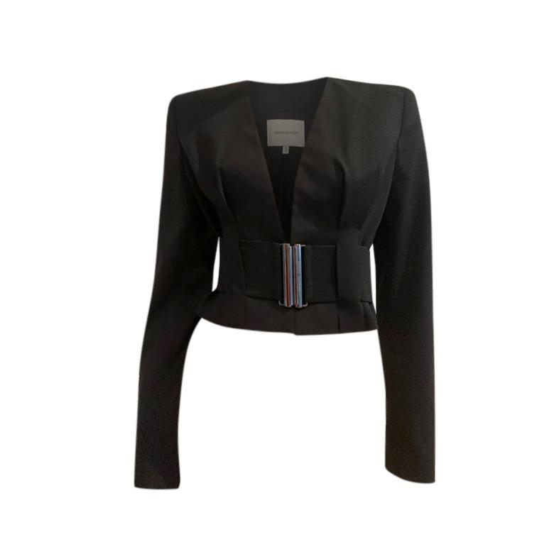 Pierre Balmain Black Belted Crop Blazer
