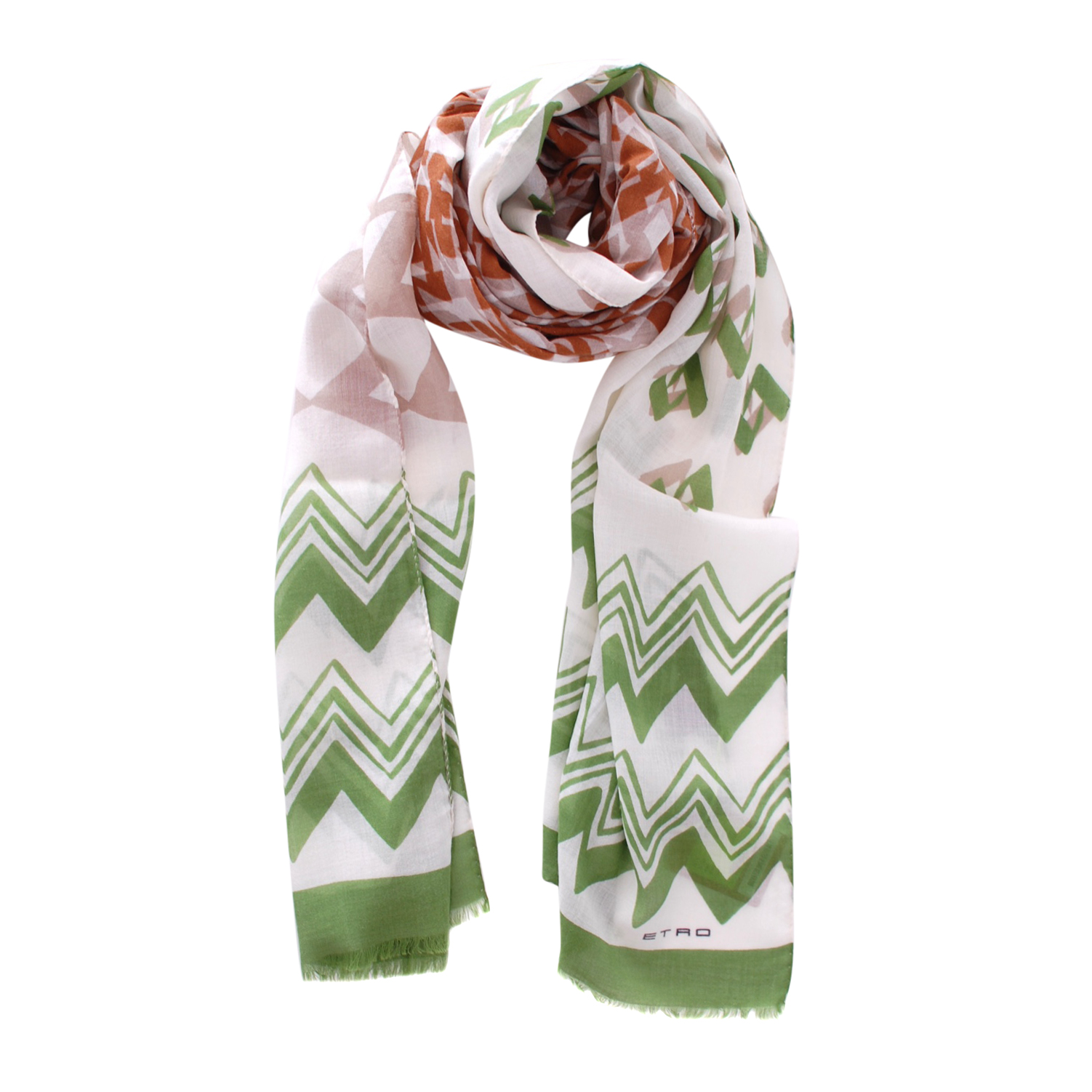 Etro White, Beige & Green Wool/Silk Shawl
