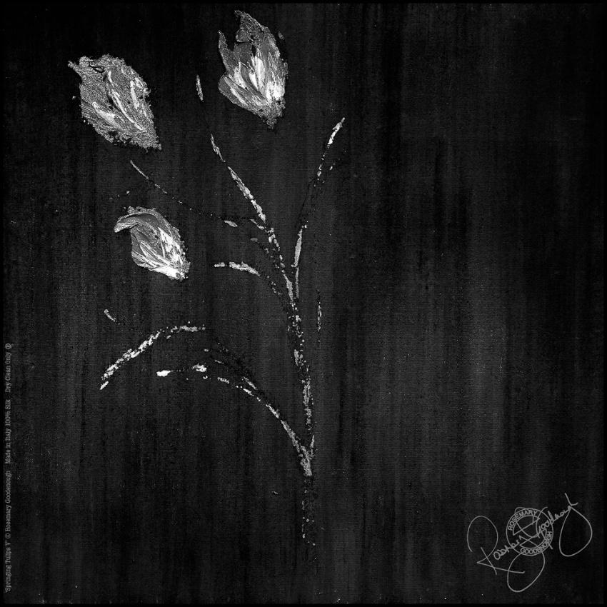 Rosemary Goodenough Black Springing Tulips V Scarf