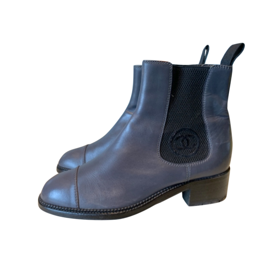Chanel Grey Leather Heeled Chelsea Boots