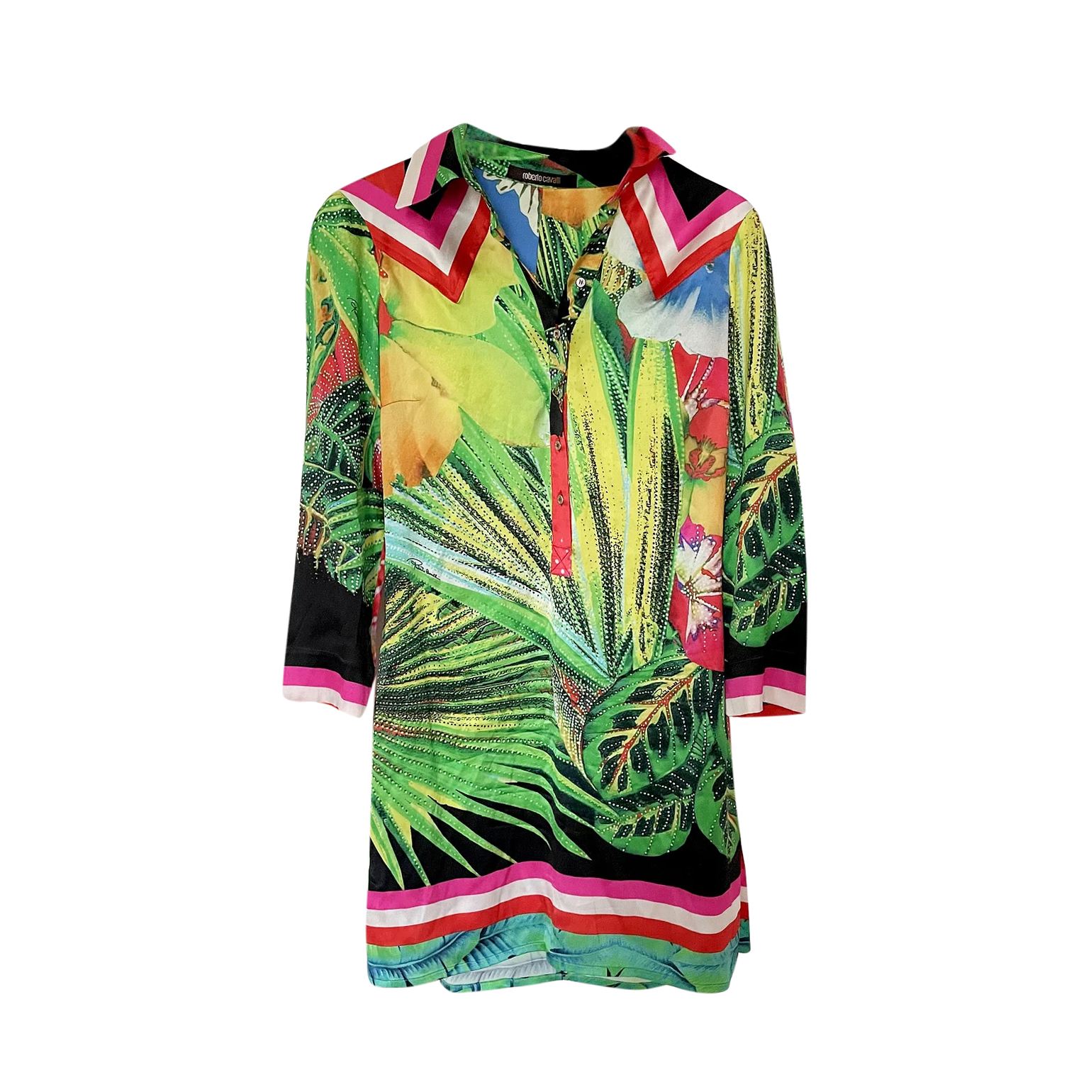 Roberto Cavalli Floral Print Shirt Dress