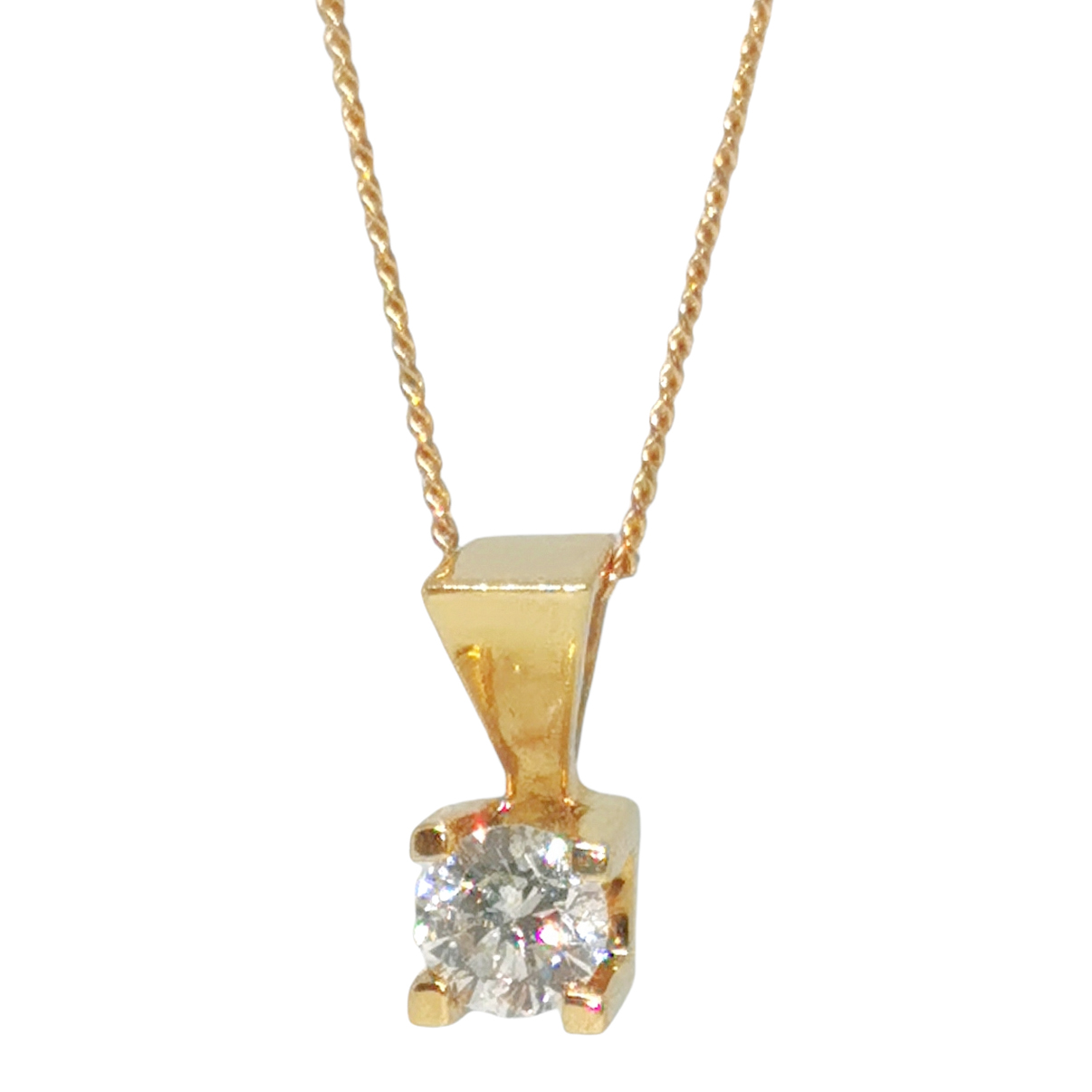 Bespoke 18ct Yellow Gold Diamond Solitaire Necklace