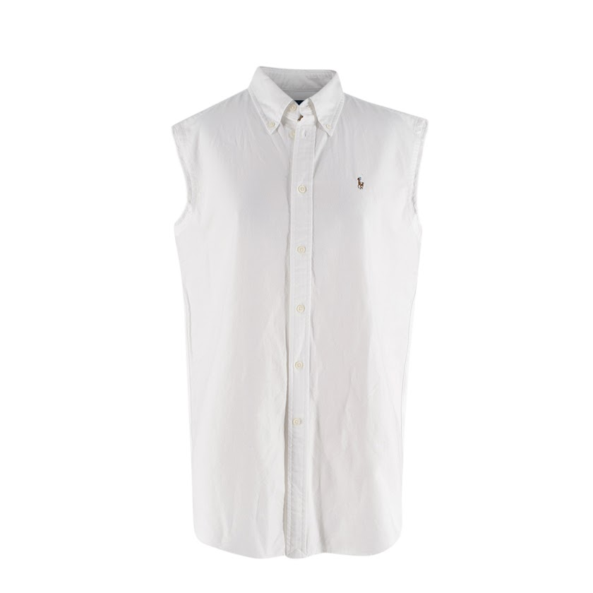 Ralph Lauren White Cotton Frayed Sleeveless Shirt