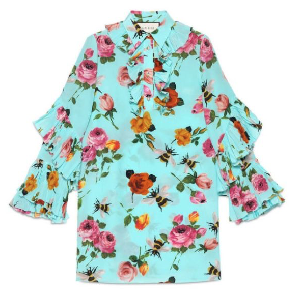 Gucci Turquoise Colette Rose Print Silk Dress