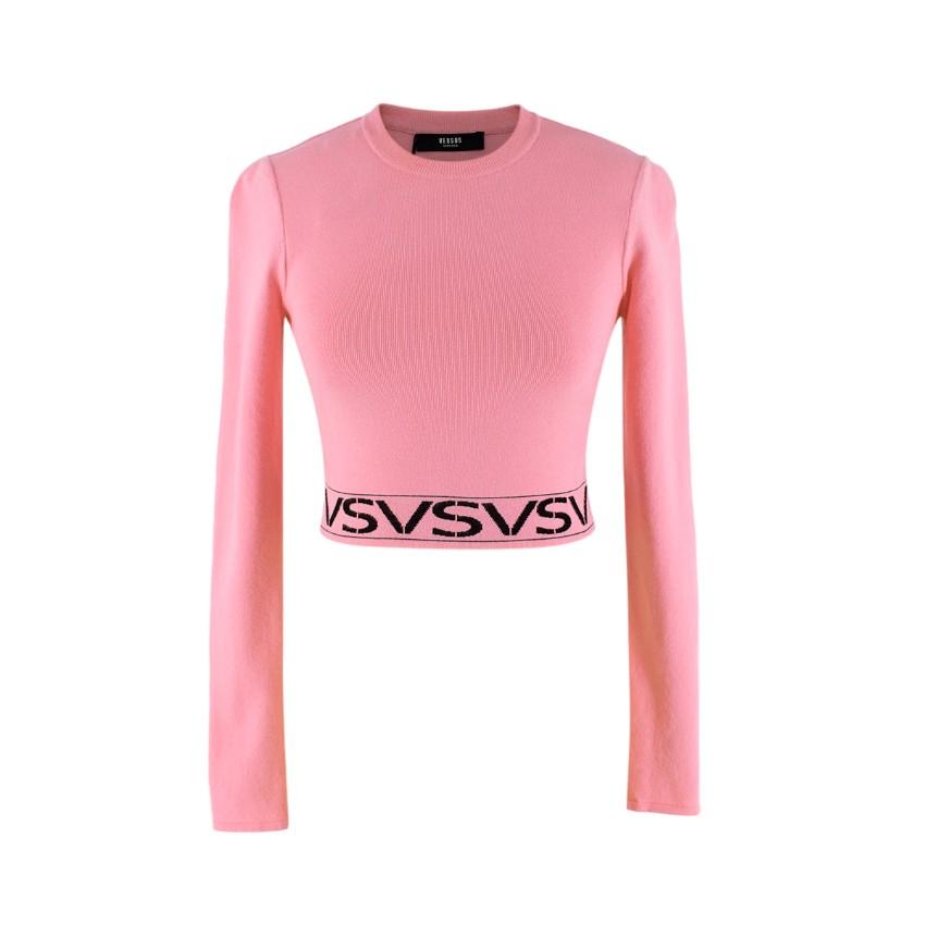 Versus Versace Bubblegum Pink Logo Intarsia Cropped Longsleeve Top