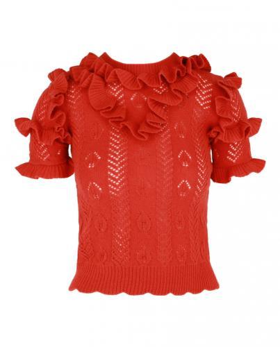 Gucci Orange Wool Blend Ruffled Knit Top