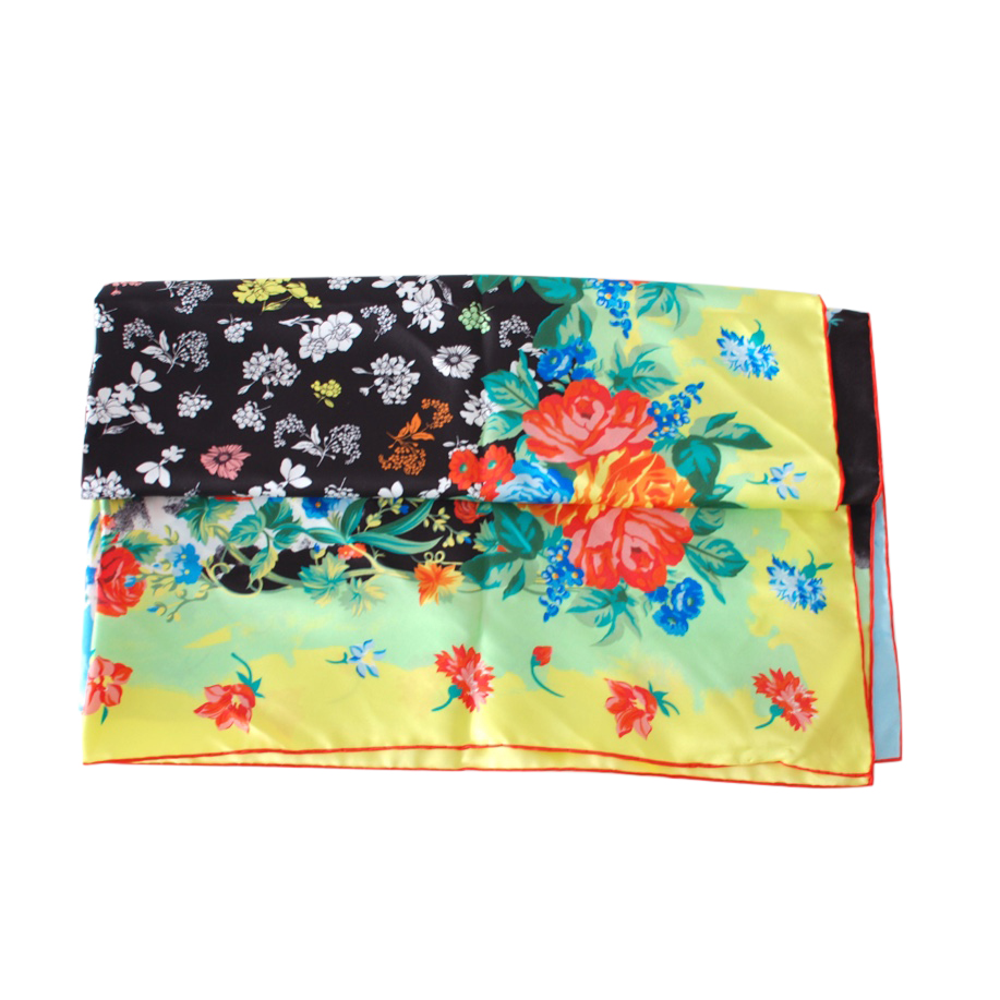 Versace Floral Print Silk Multicoloured Scarf