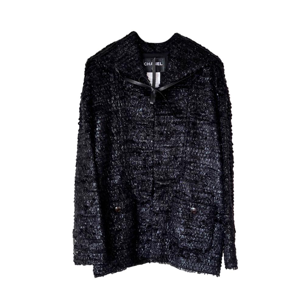Chanel Blue Faux Fur & Fantasy Tweed Knit Jacket