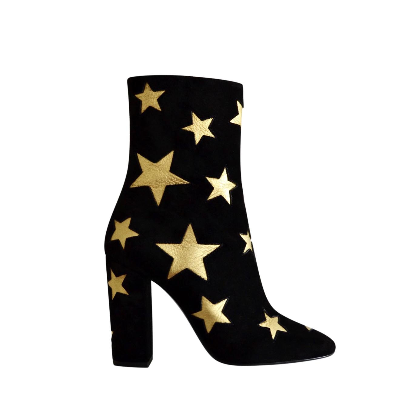 Saint Laurent Black & Gold Star Print Lou 95 Ankle Boots